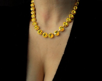Citrine Swarovski® Necklace Handmade / Anna Wintour Gold Collet / Yellow Tennis Choker / Women statement Jewelry