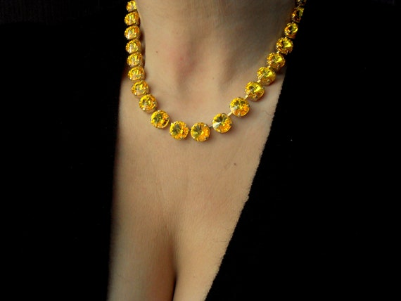 Personalize Anna Wintour Gold Citrine Collet Necklace w/ Swarovski
