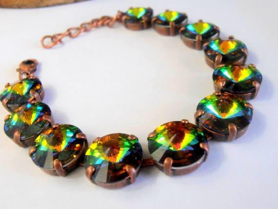 Medium Vitrail Cupchain Bracelet w/ Swarovski Rivoli Crystals 12mm 1122 / Tennis Jewelry