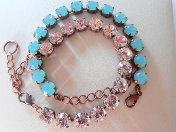 Pacific Opal Bracelet /  Swarovski Bracelet / Silk Crystal Chatons SS39 / Tennis Cupchain / Antique copper / Shabby style / Gift for her
