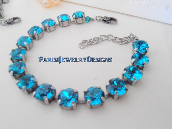 Swarovski Bracelet / Tennis / December Birthstone Blue Zircon Crystal / Cupchain / Surgical Steel Chain/ Mother's Bracelet / Gift For Her
