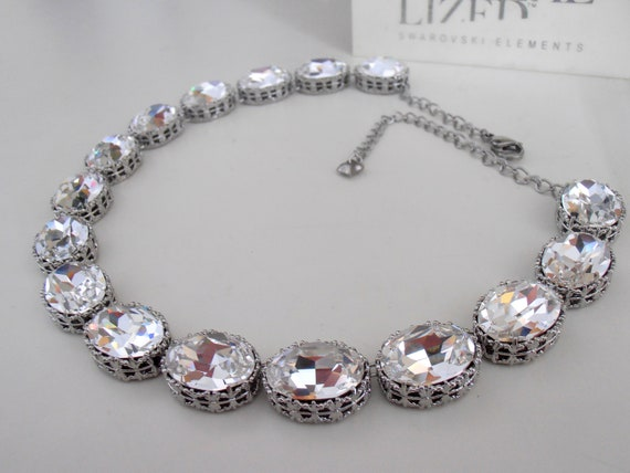 Diamond Clear Oval Crystal Necklace with Swarovski / Anna Wintour Collet