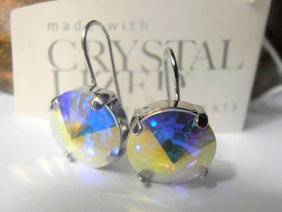 Aurora Borealis Rivoli Platinum Earrings w/ Swarovski Crystals 1122