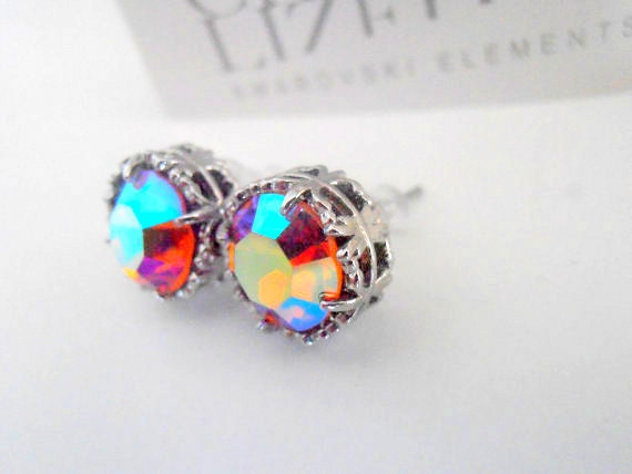Swarovski Earrings, Crystal Studs, Art Deco Earrings with Surgical Steel Pad, Topaz Shimmer, Platinum Plated Filigree Post Earrings