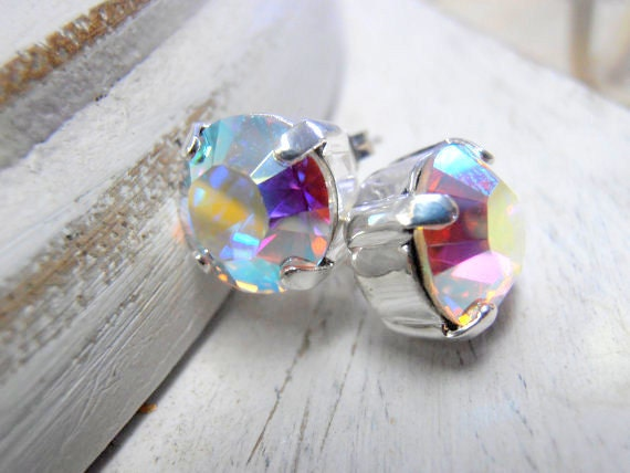 Aurora Borealis Silver Stud Earrings w/ Swarovski Crystals