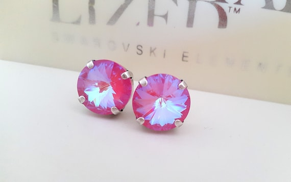 Lotus Pink DeLite Post Earrings w/ Swarovski Rivoli Crystal