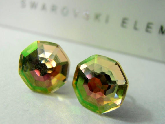 Luminous Green, Solaris, Swarovski Earrings, 10mm Stud, Crystal, Studs, Post with Surgical steel Pads