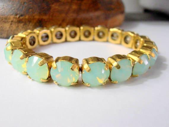 Chrysolite Opal stretch bracelet w/ Swarovski crystals
