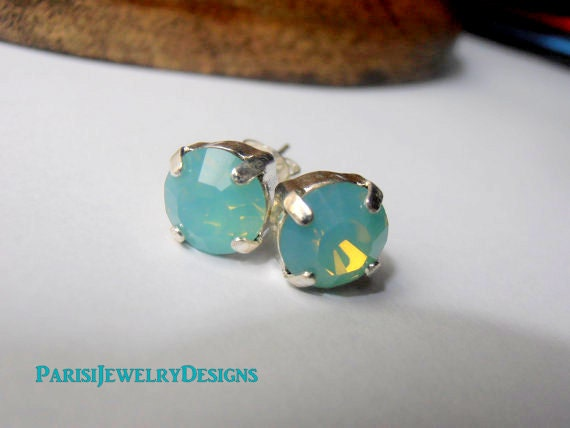 Swarovski Earrings / Pacific Opal Studs / Crystal Chatons 8mm / Pierced Earrings / Post Silver Plated Setting SS39 / Fashion Trend Jewelry