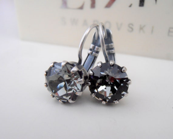 Black Diamond Earrings w/ Swarovski Crystal / Antique Silver Jewelry