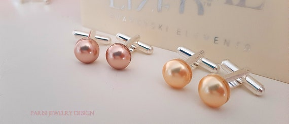 Rose Gold Pearl Cufflinks w/ Swarovski / Minimalist Groom Cuffs