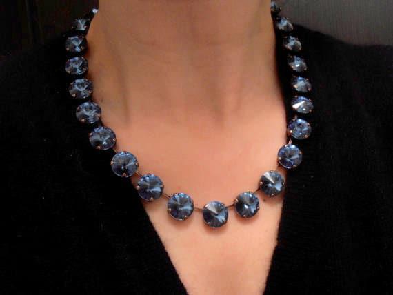 Swarovski Necklace, Denim Blue, Siam Red, Rivoli 14mm, Choker, Crystal, Cupchain, Bib, Antique Copper setting, Tennis, Anna wintour Necklace
