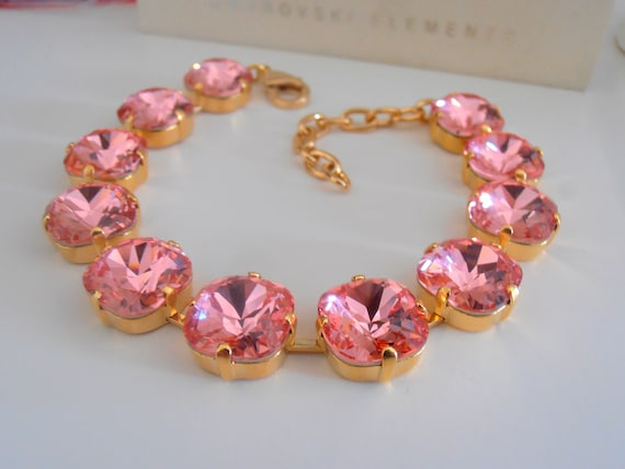 Rose Peach Swarovski Bracelet 4470 / 14K Gold Cup chain Cushion Cut Jewelry