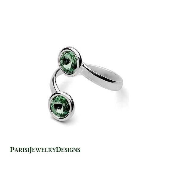 Erinite Swarovski Adjustable Crystal Stacking Ring / Dainty Rivoli Sterling silver Jewelry