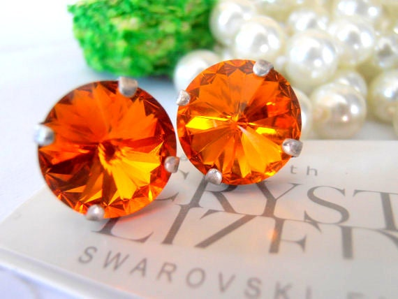 Tangerine Rivoli Stud Earrings w/ Swarovski Crystals