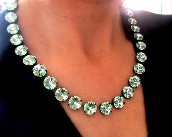Chrysolite Swarovski Necklace • Anna Wintour Crystal Rivoli Collet parisijewelrydesign