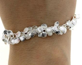 Multi Charm Silver Shell Bracelet • Women Summer Metal Jewelry • Statement Links Bracelet • Birthday Gift for Women •