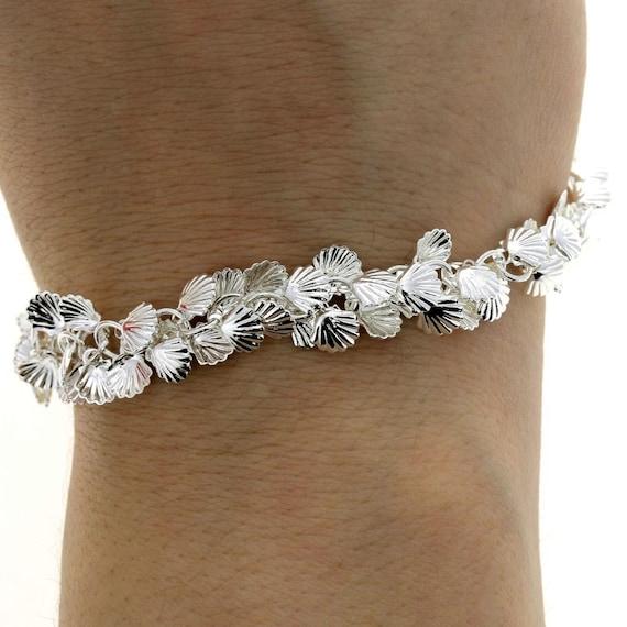 Multi Charm Silver Shell Bracelet • Boho Metal Jewelry