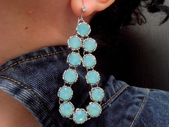Swarovski Statement Pacific Opal Chandelier Earrings / Art Deco Bridal Jewelry