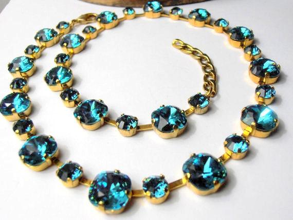 Cushion Cut 4470 Collet w/ Swarovski Indicolite Crystals / Anna Wintour Blue Choker