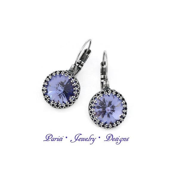 Swarovski Earrings / Crystal Lavender Rivoli Earrings / French Crown Purple Drop Earrings / Leverback / Dangle / Gift for her