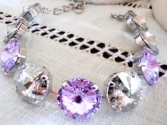 Swarovski Crystal Bracelet, 14mm, Light Amethyst/Crystal Silver Shade, Platinum, Wedding Bracelet, Anna Wintour, Cupchain, Tennis Bracelet
