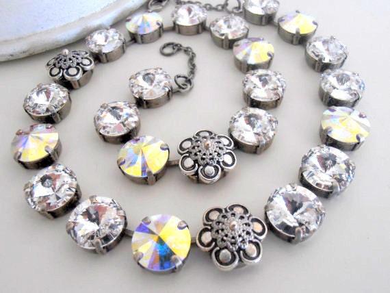 Anna Wintour Swarovski Rivoli Necklace 1122 14mm / Crystal Cupchain Tennis Jewelry