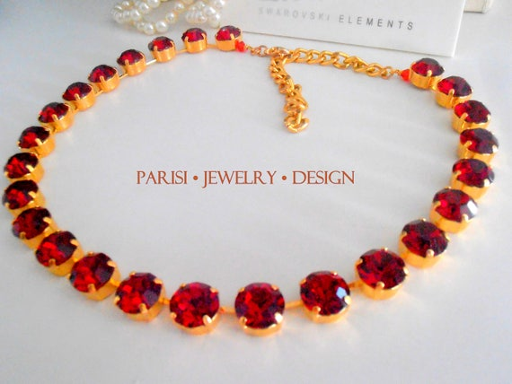 Georgian Ruby Collet Necklace / Red Choker SS47 / Statement Gold Jewelry