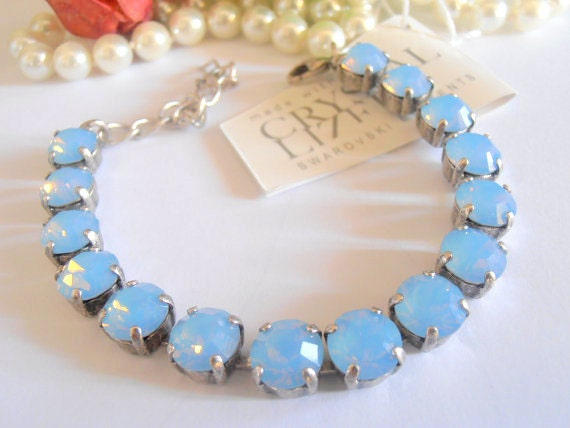 Swarovski Crystal Bracelet, Tennis, Cupchain, Chatons SS39, 8mm, Air Blue Opal, Antique Silver Link Setting