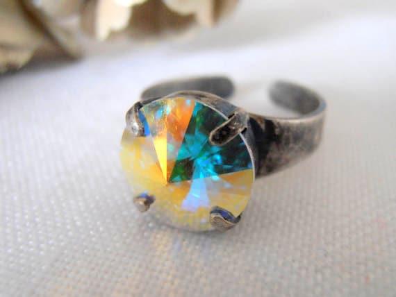 Aurora Borealis, Swarovski crystal Ring, Rivoli 12mm, Adjustable Rings, Antique Silver, prong setting, Costume/Fashion Accessories