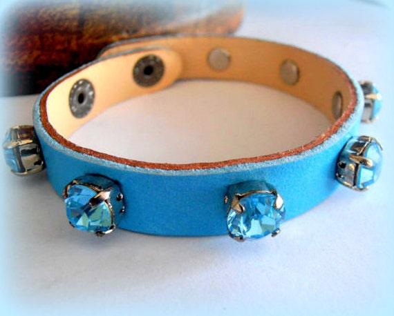 Swarovski Leather Cuff Bracelet / Aquamarine Crystal Bracelet /  Leather Strap Adjustable Bracelet / ss39 Crystal Chatons / Fashion