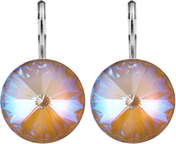 Cappuccino DeLite Drop Earrings w/ Swarovski Rivoli Crystals