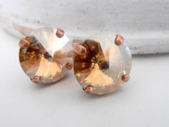 Swarovski Studs, Champagne, Crystal Golden Shadow, Bridal, 12mm, Rivoli Earrings in Antique copper, Wedding, Post Earrings