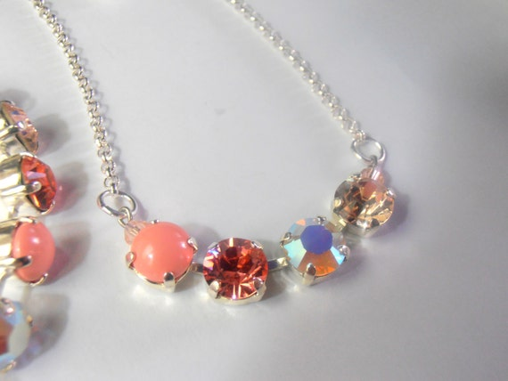Shabby Chic Pale Peach Multicolor Swarovski Crystal Perles Silver Plated Pendant Charm Necklace