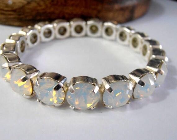 925 Sterling Silver Cuff Bracelet w/ Swarovski Crystals / Women Gift Jewelry
