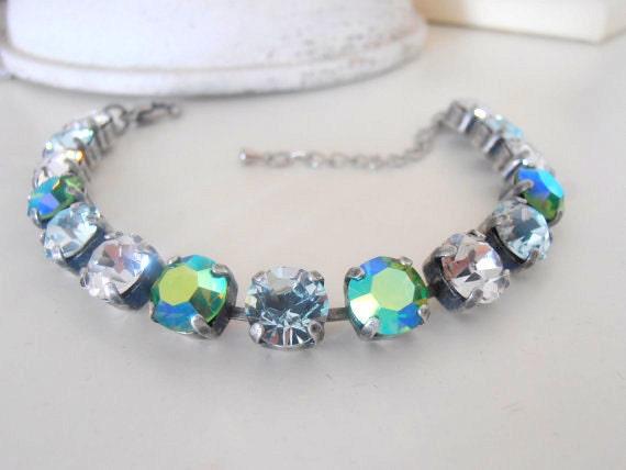Tennis Cupchain Bracelet / Swarovski Crystal Chatons / Shabby Fashion Jewelry