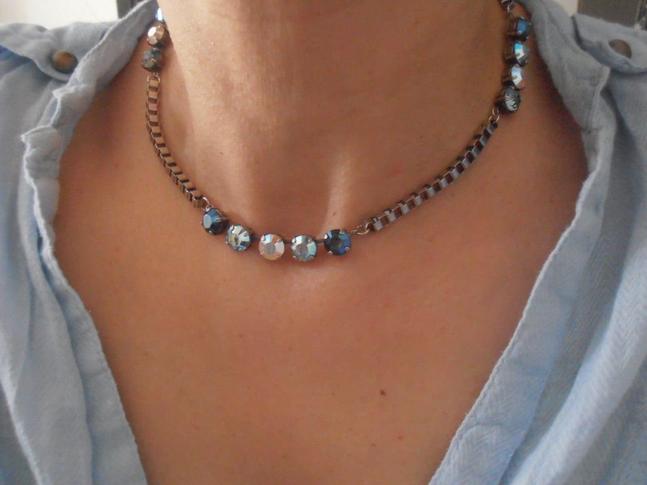 5e27fef09576f Metallic/AB Multicolors Blue 8mm Swarovski crystal chatons Antique ...
