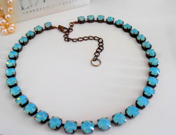 Pacific Opal Crystal Necklace / Swarovski Cupchain Choker / Tennis Bronze Collet