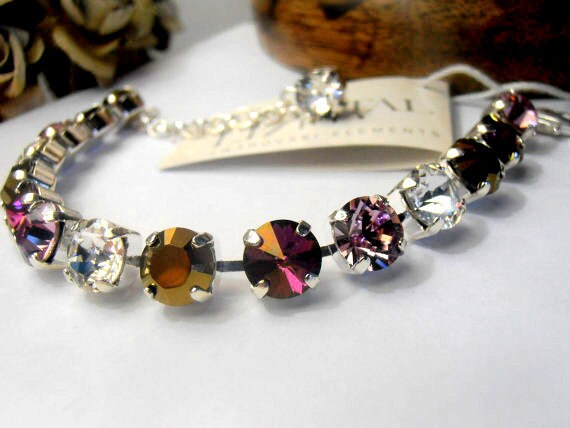 Swarovski Crystal Bracelet / Rivoli Cupchain Bracelet / Tennis Bracelet / Gift for her / ss39 8mm Chain Bracelet / Fashion Jewelry