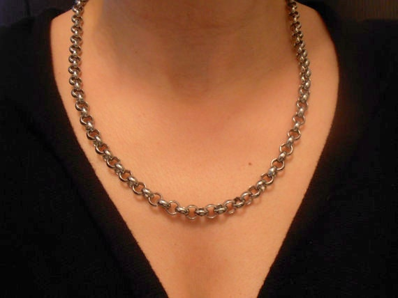 Chunky Thick Long Chain Necklace / Accent Metal Chain / Minimalistic Bohemian Jewelry/ Rhodium Plated / Fashion Necklace