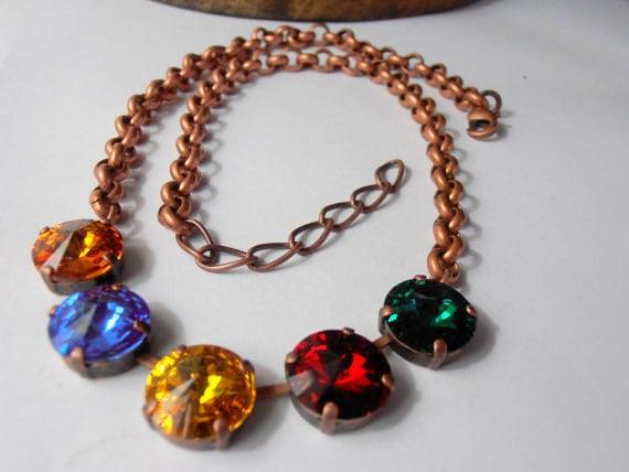 Vintage Multicolors Rivoli Necklace w/ Swarovski Crystals / Tennis Cup chain Crystal Jewelry