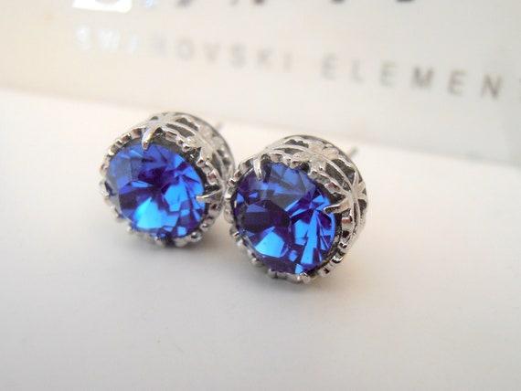 Swarovski Sapphire Rhinestone Stud Earrings / Platinum Jewelry