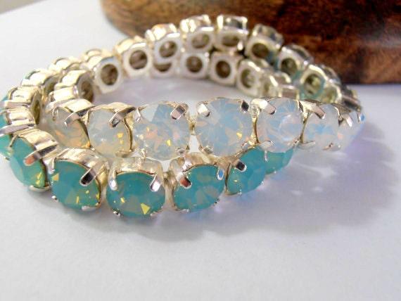 White Opal Swarovski Stretch Bracelets • Sew On Crystal Bracelet • Pacific Opal Blue