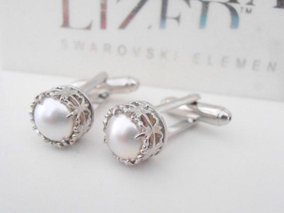 White Pearl Cufflinks w/ Swarovski / Wedding Suit and Tie Groom Cuffs