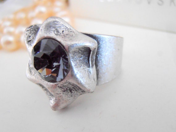 Swarovski Ring, Silver Night, Bohemian Rings, Hippie, Boho, Crystal, Adjustable Rings, Antique Silver, Prong setting, Fashion Rings
