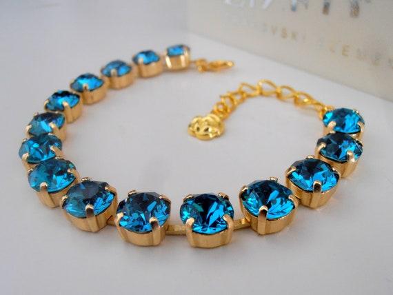 Blue Zircon Swarovski Crystal Tennis Bracelet / Prom Gold Cupchain Jewelry