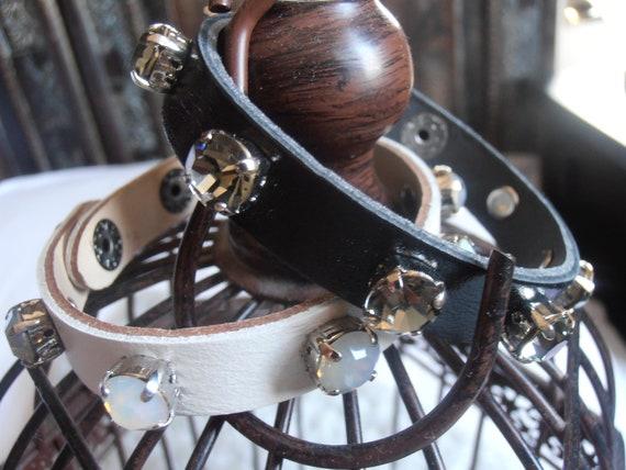 Swarovski Bracelet / Leather Wrap Bracelet / Cuff Bracelet / Adjustable / Crystal Bohemian Jewelry / Black Diamond / SS39 8mm / Gift for her