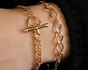 Personalized Gift 16K Real Gold Plated Initial Chain Bracelet / 3Micron Letter Charm/ Women Layering Jewelry / Valentine's Day