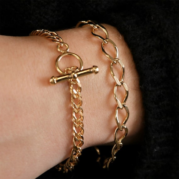 Personalized Letter Initial 16K Real Gold Chain Charm Bracelet