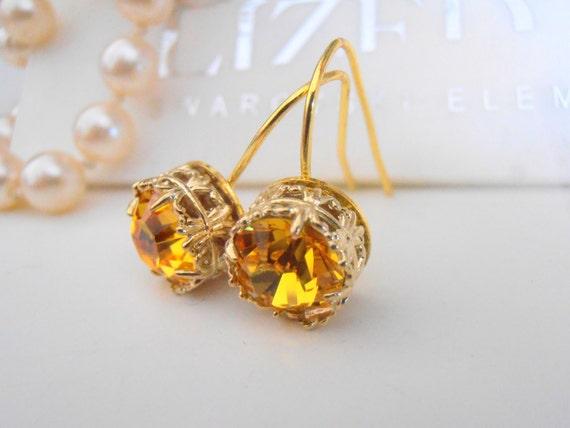 Swarovski Earrings, Art Deco, Wedding, Dangle, Light Topaz, Yellow Crystal, Leverback Gold Plated Filigree Setting, Vintage Jewelry
